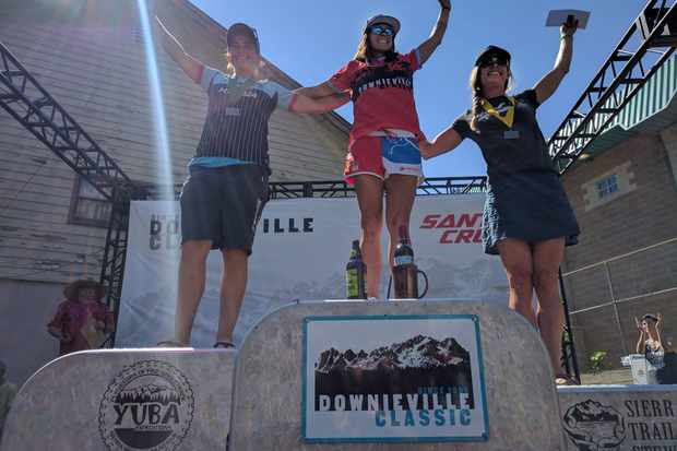 Tracy Moseley on the podium at Downieville Classic