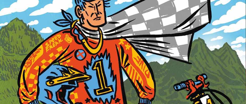 Illustration of downhill rider