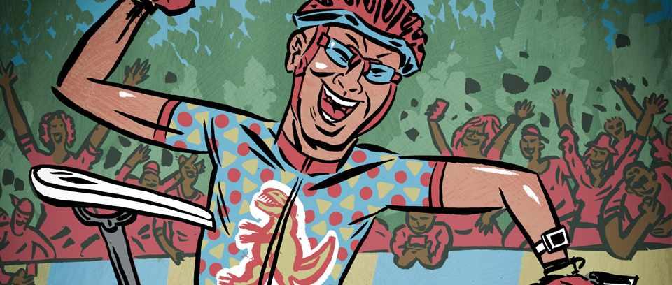illustration of mountain bike cross country rider