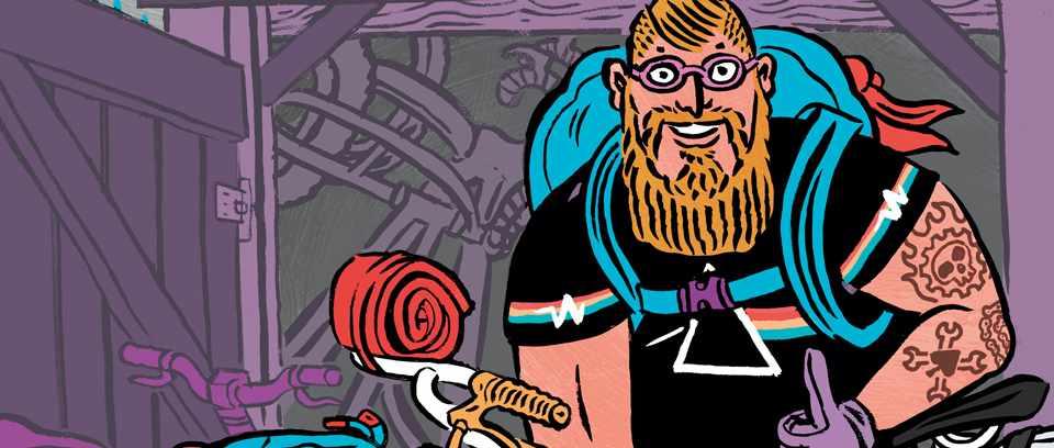 illustration of beardy wierdy fat biker