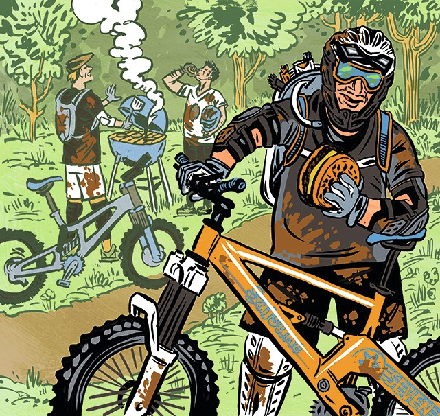 illustration of weekend warrior mountain biker