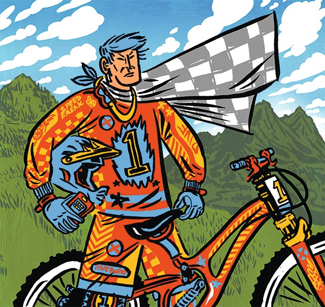 illustration of downhill mountain bike rider