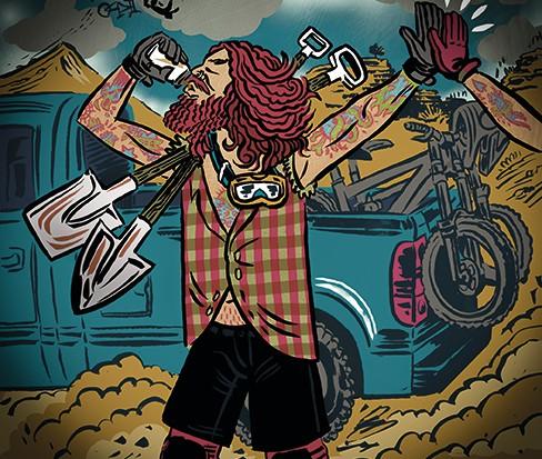 illustration of freeride mountain bike rider
