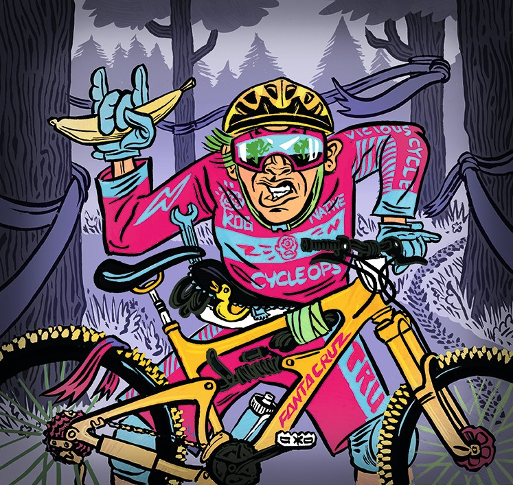 illustration of enduro mountain bike rider