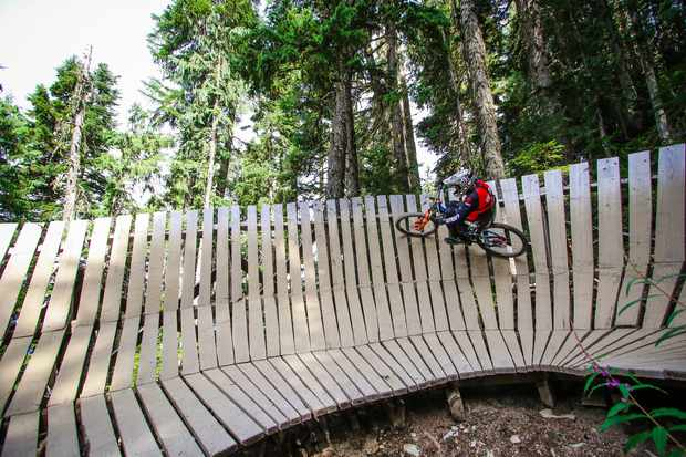 Martyn Ashton railing wooden berm at Crankworx, Whistler