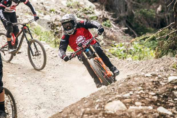Martyn Ashton riding in the 2017 Fox Air DH at Crankworx, Whistler BikePark Vancouver