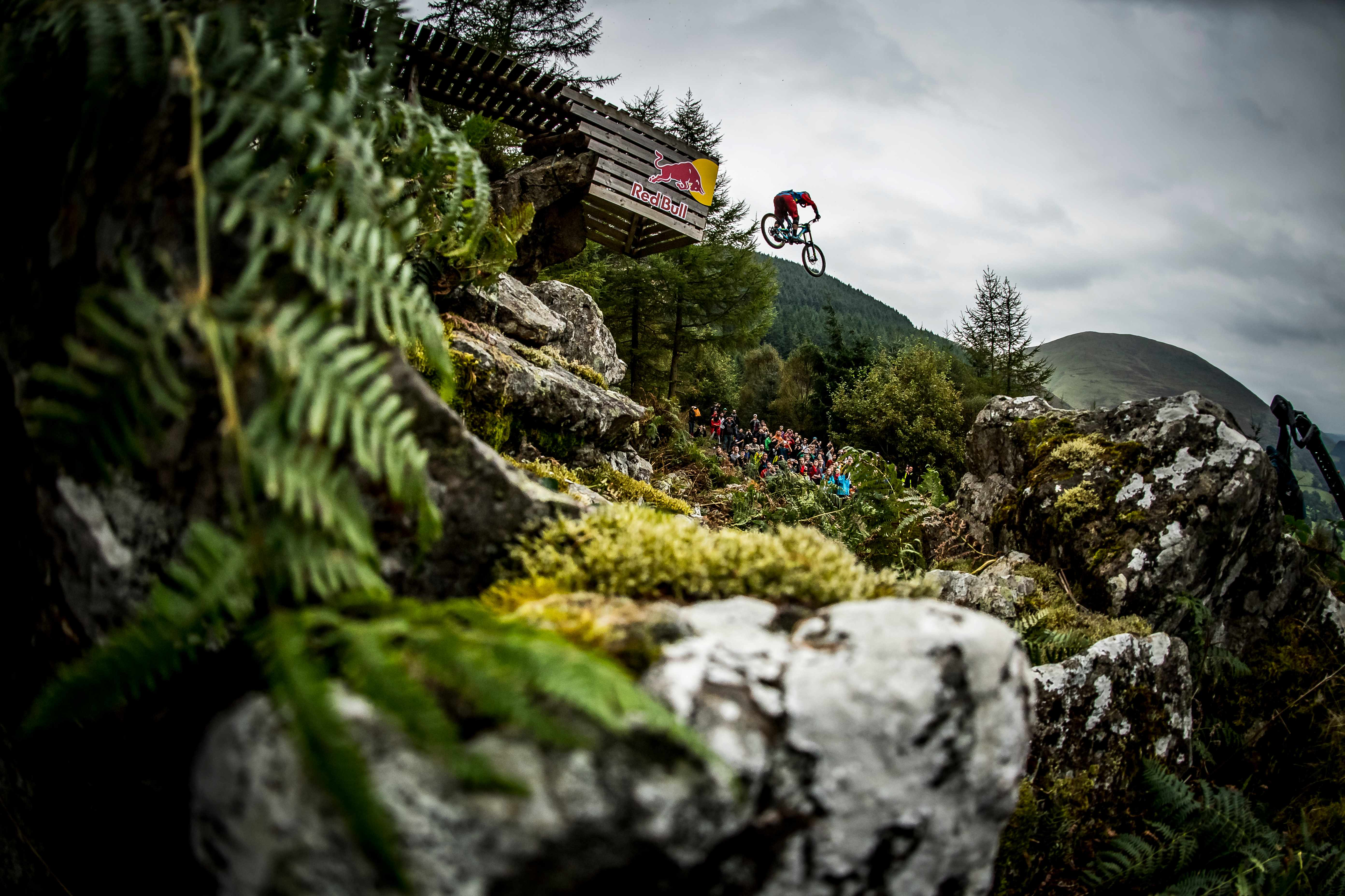Alex Bond jumps the road gap at the Red Bull Hardline 2017 riding a GT Fury DH bike