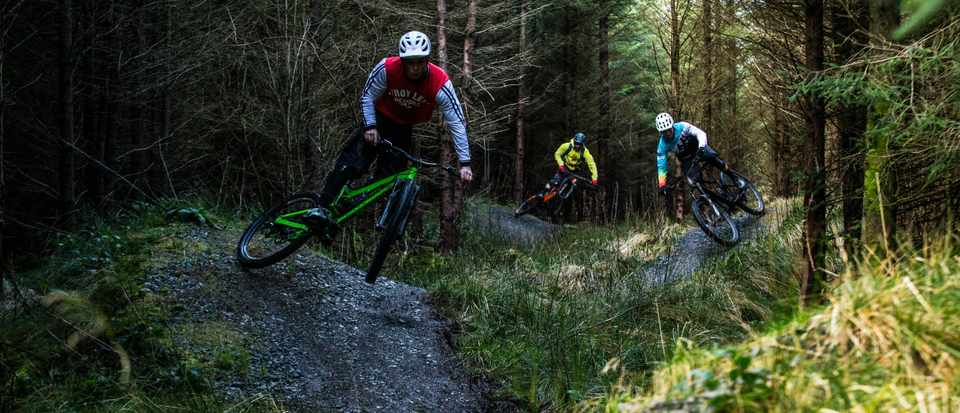 Leo Houseman, Ed Thomsett and Alex Evans ride the final descent at Penmachno in North Wales for a MBUK Wrecking Crew feature