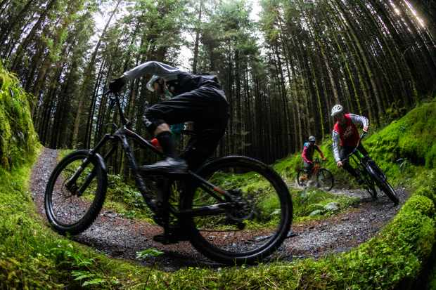 Ed Thomsett, Leo Houseman and Alex Evans ride the climb at the Penmachno trail centre in North Wales