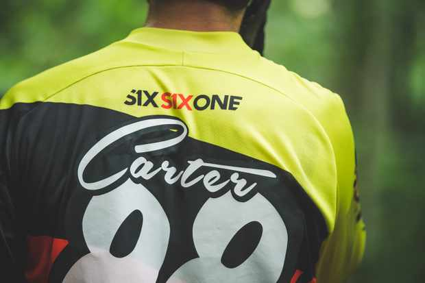 mountain biker race jersey with name and number on the back