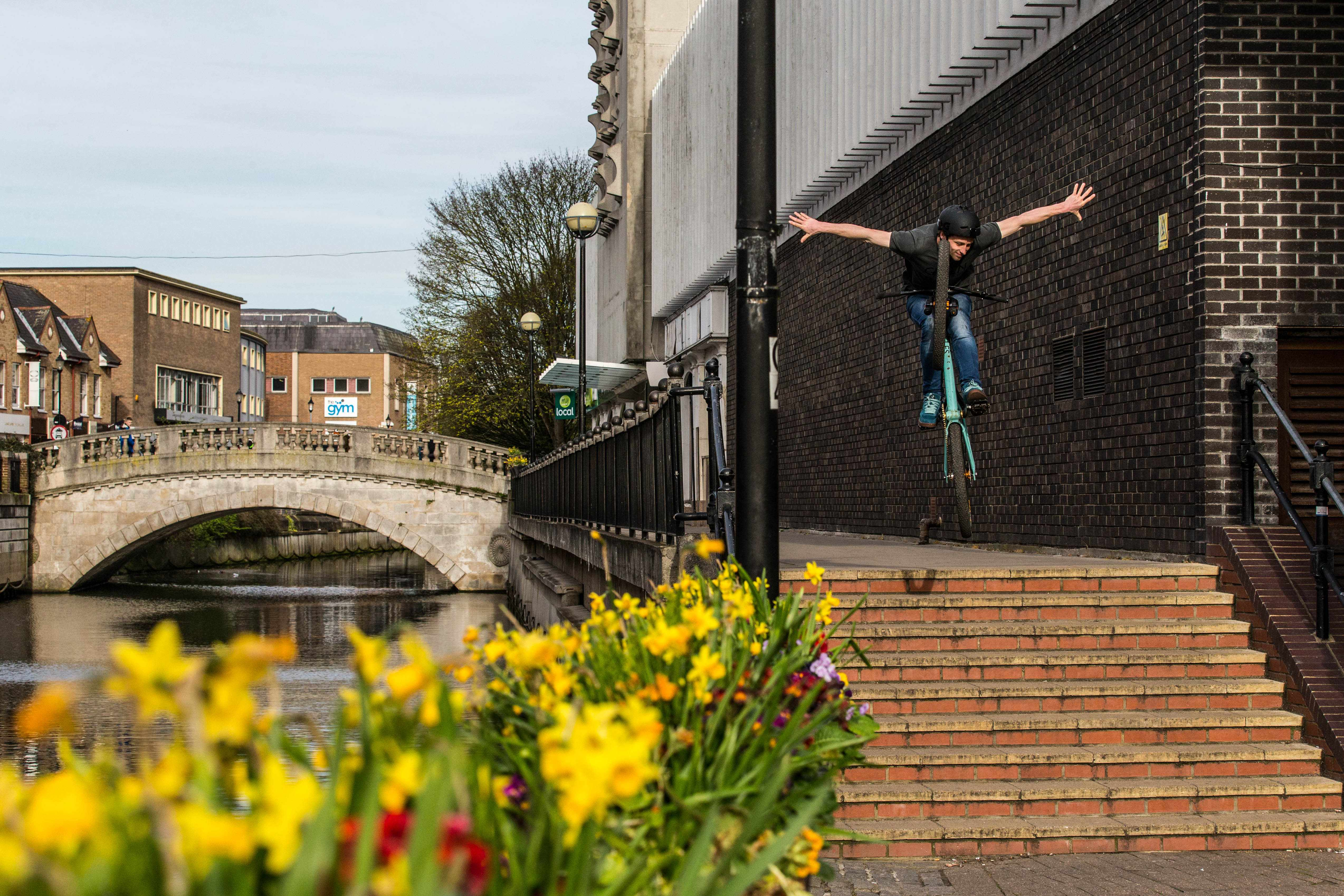 Tom Card pulls a tucked suicide no hander jumping down a set of stairs in Chelmsford, Essex.