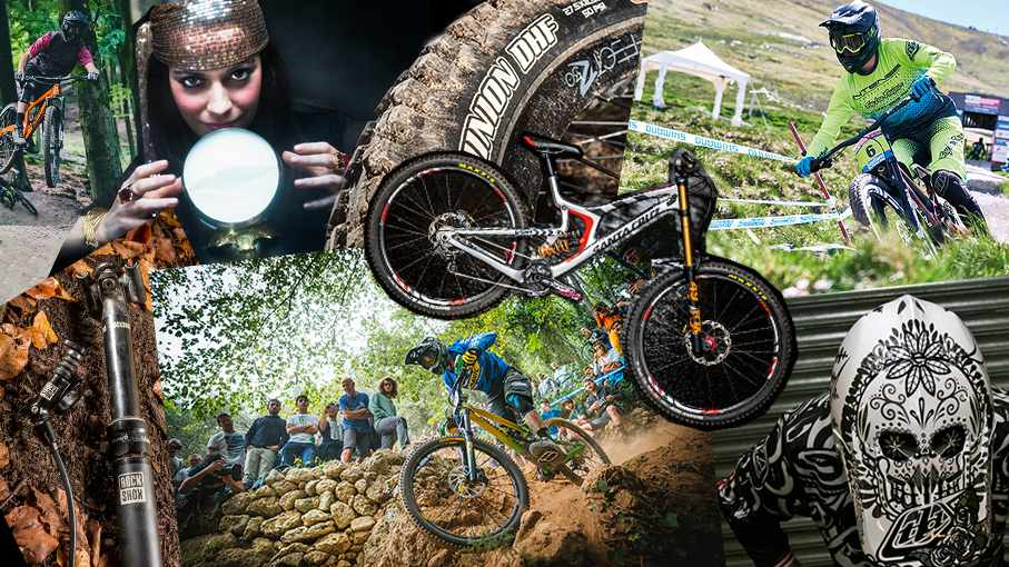 A collage of mountain biking images