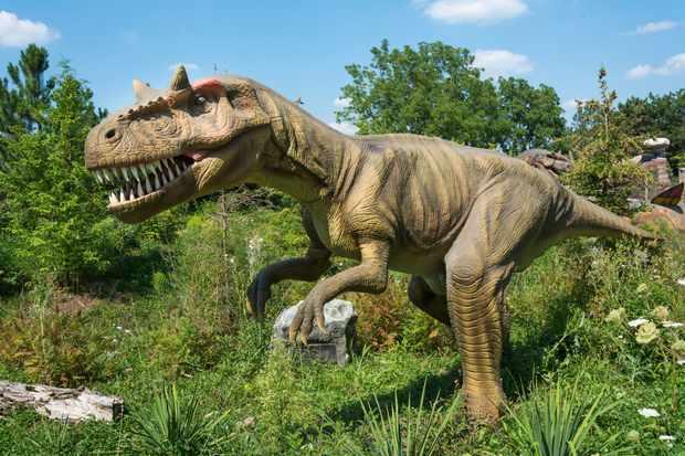 A tyrannosaurus rex standing in a field