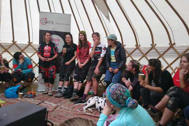 Q&A at BikePark Wales women's weekend Katy Curd, Veronique Sandler, Manon Carpenter, Emily Horridge, Monet Adams