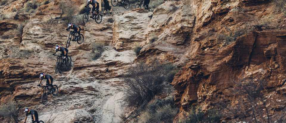Carson Storch rides a Rocky Mountain at the 2016 Red Bull Rampage