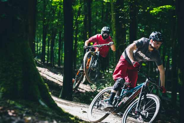 Ed Thomsett and Alex Evans ride Wind Hill B1kepark on the Longleat Estate in Wiltshire in the sunshine
