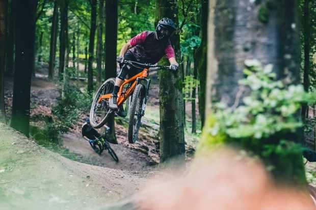 Alex Evans rides his Orange Segment long term test bike at Windhill in Wiltshire at Longleat safari park.