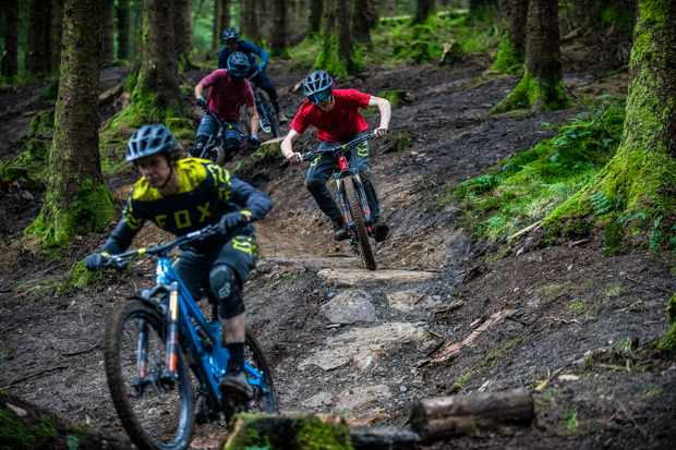 MBUK Wrecking crew rides Roots Manoeuvres red trail at BikePark Wales