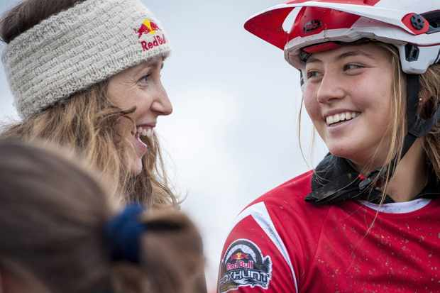 Rachel Atherton and Millie Johnset talk at the Red Bull Fox Hunt