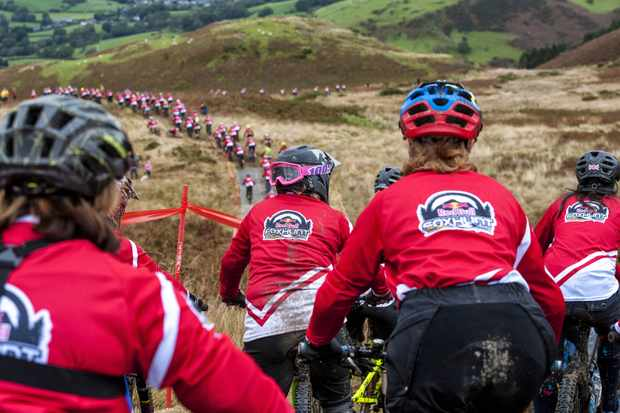 Riders descend the Fox Hunt course