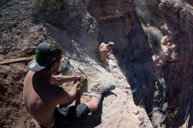 Bredan Fairclough digs a new line on his line at the Red Bull Rampage site in Virgin Utah
