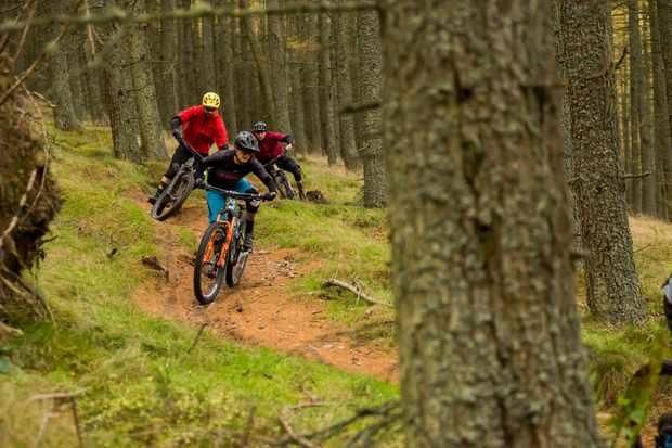 Katy Winton, Alex Evans and Ed Thomsett ride Innerleithen in Scotland