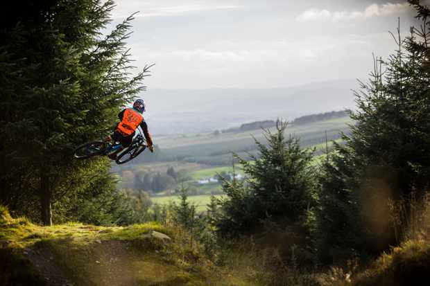 Frazer McCubbing rides Ae forest for an MBUK Wrecking Crew
