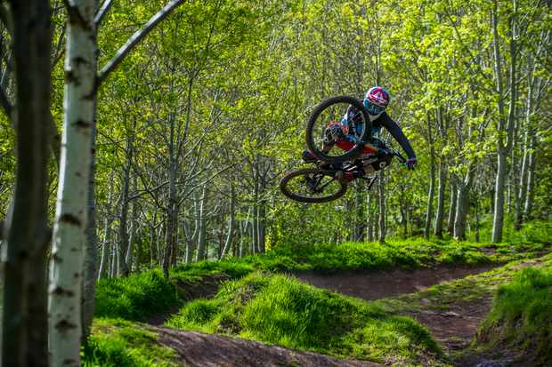 Nikki Whiles does a flat tabletop at Black Mountains Cycle Centre