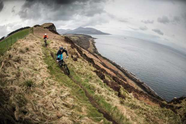 Ric McClaughlin and Marc Beaumont riding the coastal trails around Arran