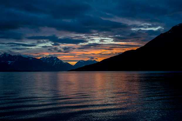 Sunset over a fjord in the Arctic Circle