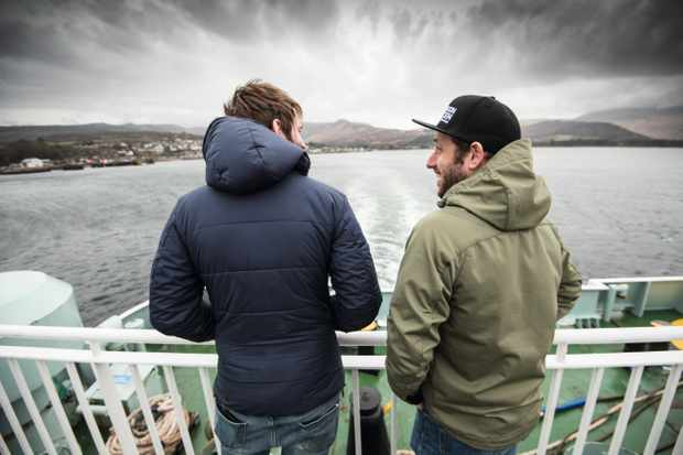Ric McLaughlin and Marc Beaumont on the ferry to Arran