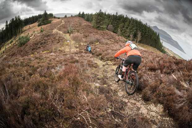 Marc Beaumont and Ric McClaughlin on the mountain bike trails on Isle of Arran