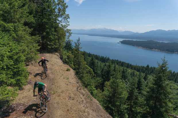 Riders on the mountain bike trail on Vancouver Island, British Columbia