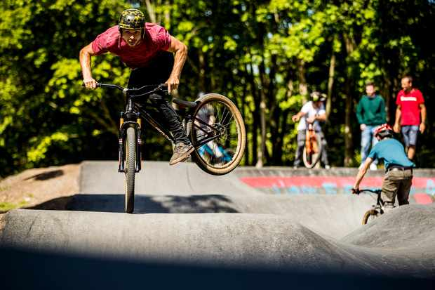 Olly Wilkins rides a hump roller at a pump track in Edinburgh