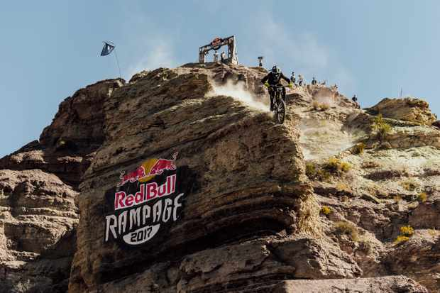 Tyler McCaul competes at Red Bull Rampage in Virgin, Utah on October 27th, 2017. Credit: Bartek Wolinski/Red Bull Content Pool
