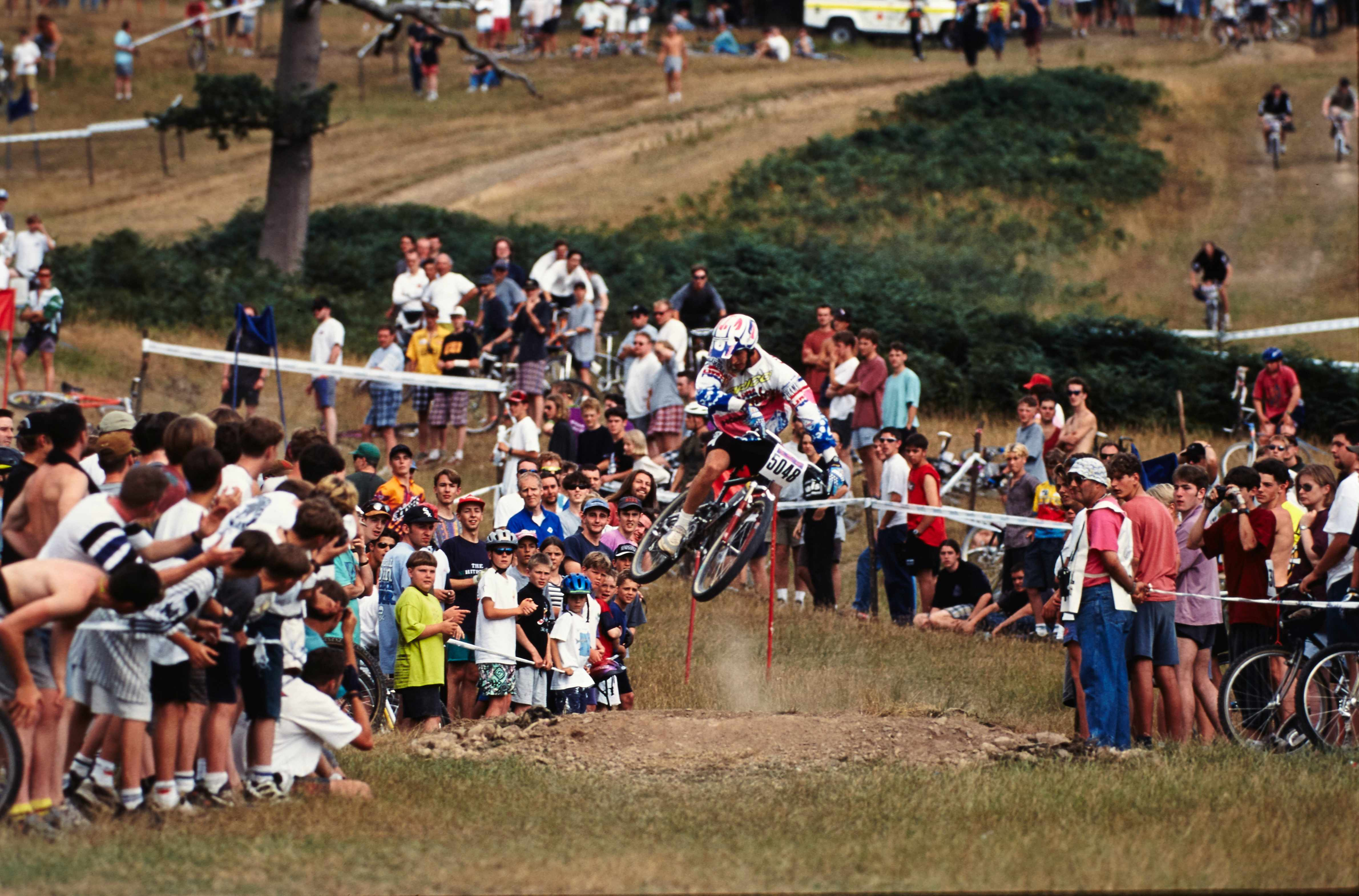 Tim Ponting whipping a jump at the 1995 Malverns Classic