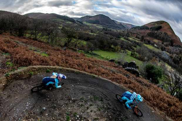 Tahnee Seagrave chases her brother Kaos at Revolution Bike Park