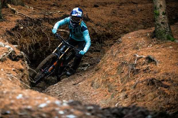 Tahnee Seagrave rides a gully at Revolution Bike Park