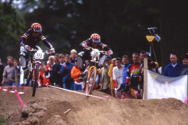 Stefan Gleed and James Allaway racing dual slalom malvern Classic 1998 pic copyright Steve Behr / Stockfile