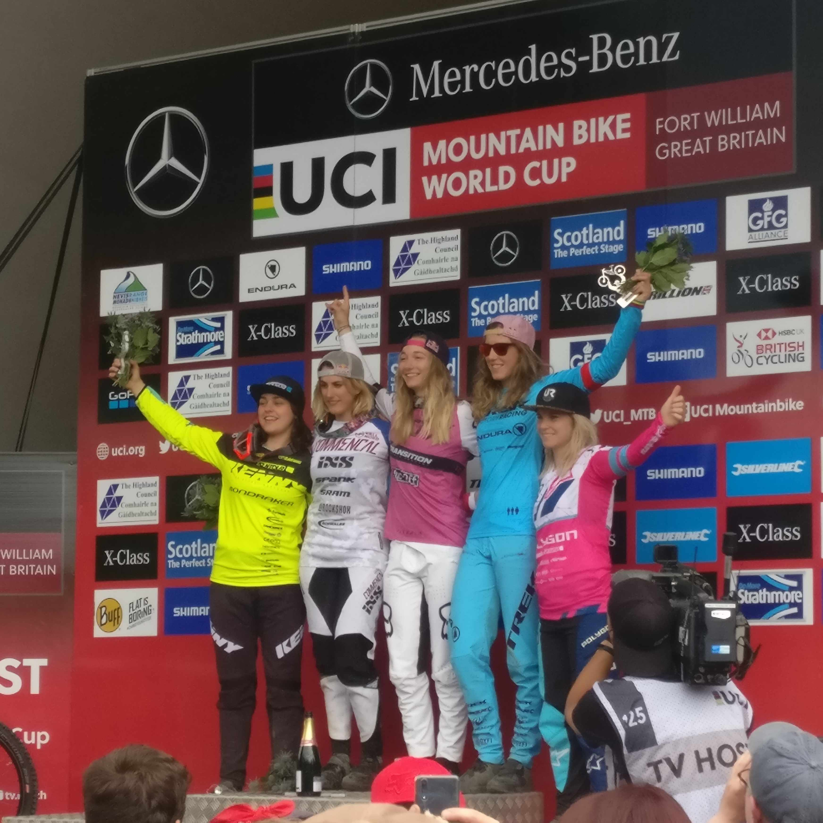 2018 Fort William UCI DH World Cup elite women's podium