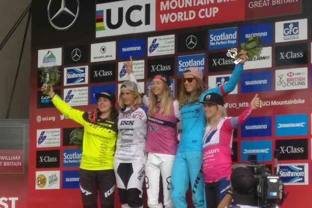 2018 Fort William UCI DH World Cup elite women's podium