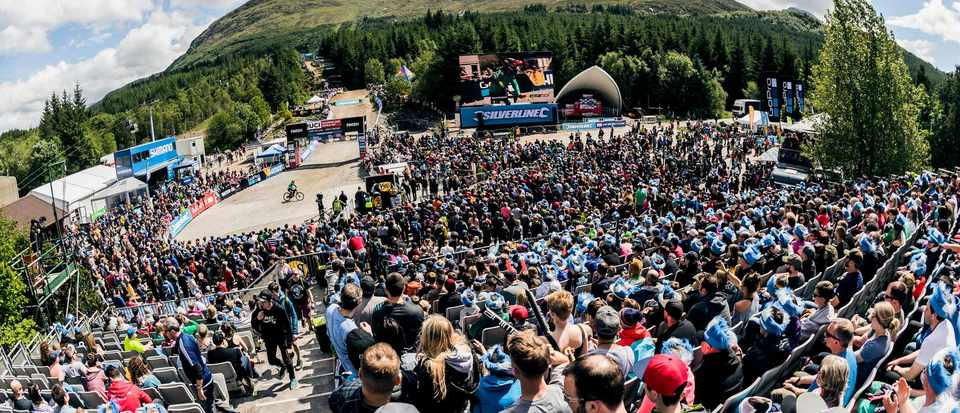 Grandstand UCI DH World Cup in Fort William, Scotland