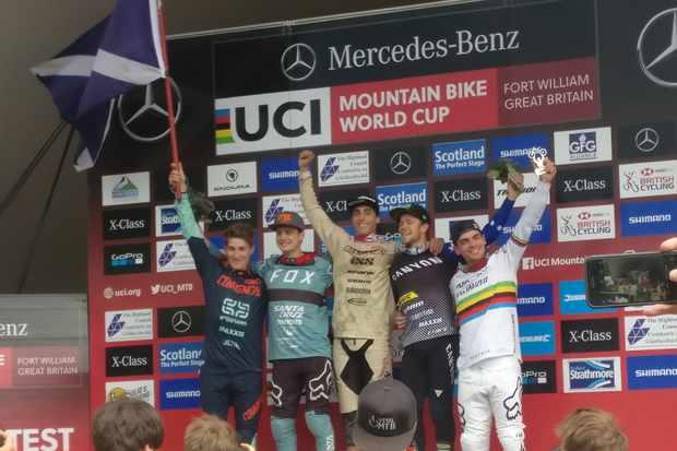 2018 Fort William UCI DH World Cup elite men's podium