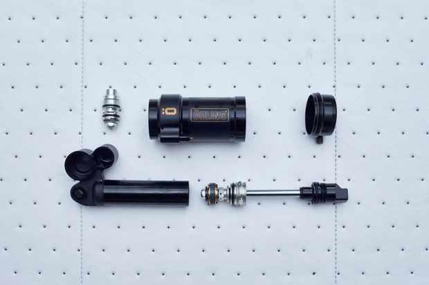 The internals of an Öhlins STX 22 air shock
