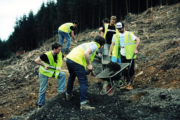 The MBUK crew digging at BikePark Wales