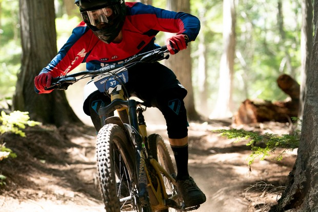 MBUK's Features Editor Ed racing the Trans BC Enduro