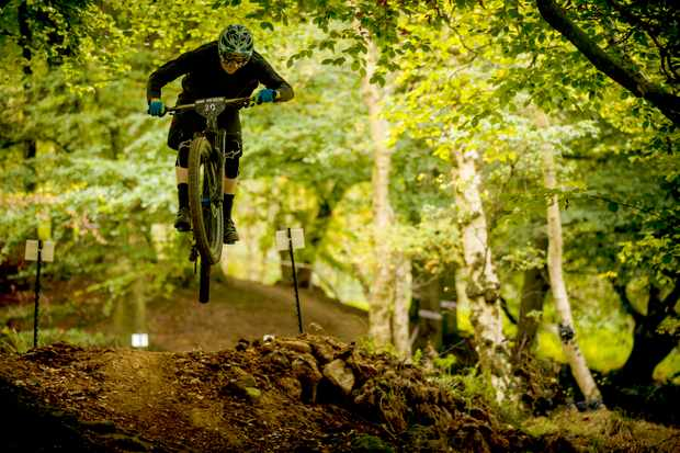 From exposed moorlands and quarries, stage one dropped into lush green woods and flowing rhythms of jumps. Photo: Mick Kirkman