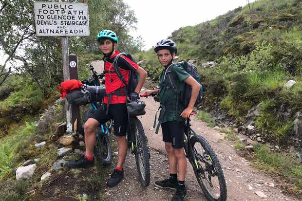 Starting the half-mile vertical climb to The Devil's Staircase on the West Highland Way (day 7)