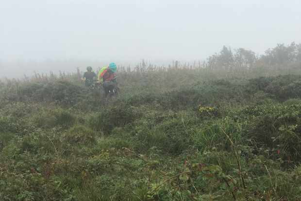 The struggle to reach the end. Crossing Bosporthennis Common through gorse and mist (day 28)