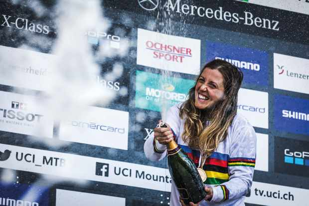 Rachel Atherton celebrates winning her 5th world championship